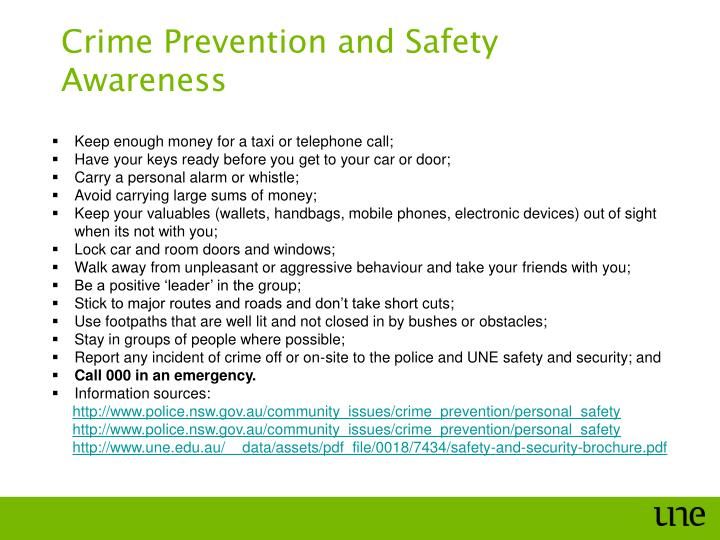 Crime Prevention and Safety Awareness
