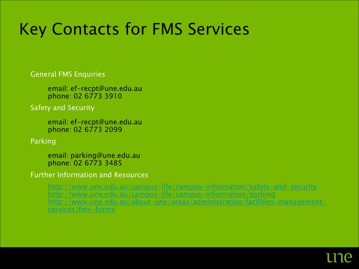 Key Contacts for FMS Services