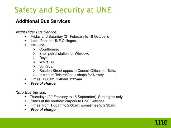 Safety and Security at UNE