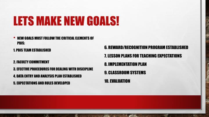 Lets make new goals!