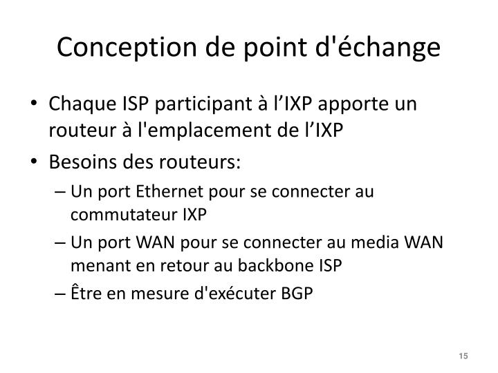 Conception de point d'échange