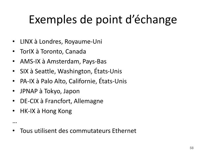 Exemples de point d'échange