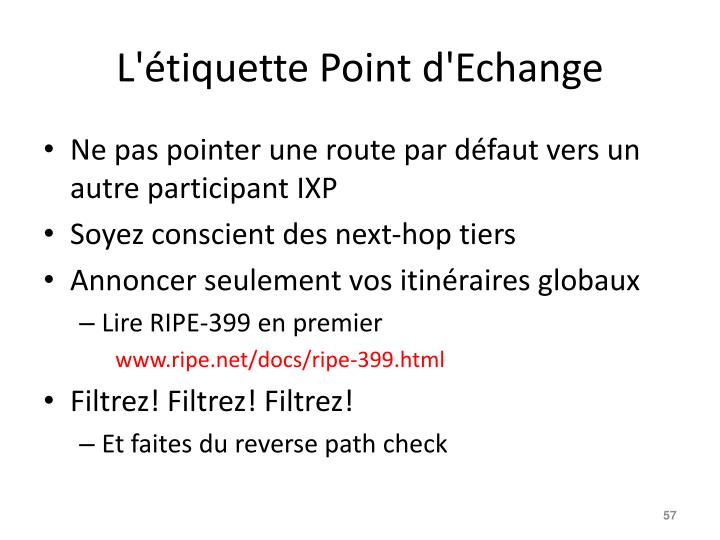 L'étiquette Point d'Echange