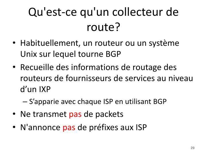 Qu'est-ce qu'un collecteur de route?