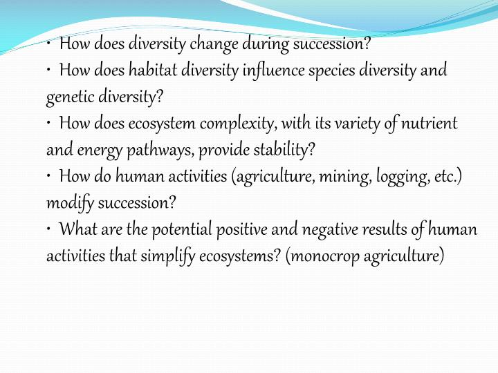 How does diversity change during succession?