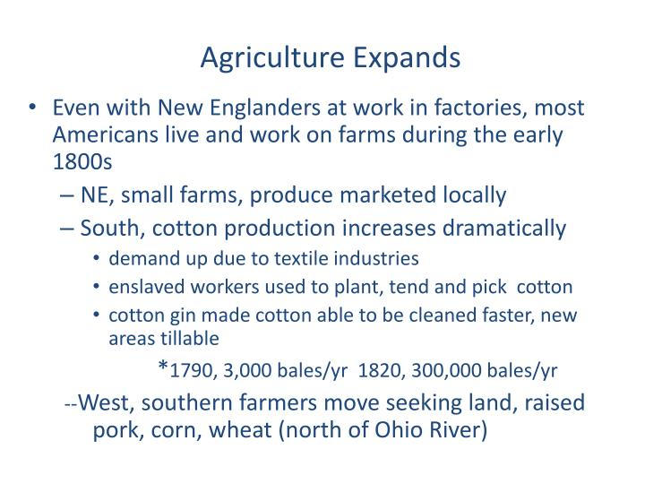 Agriculture Expands