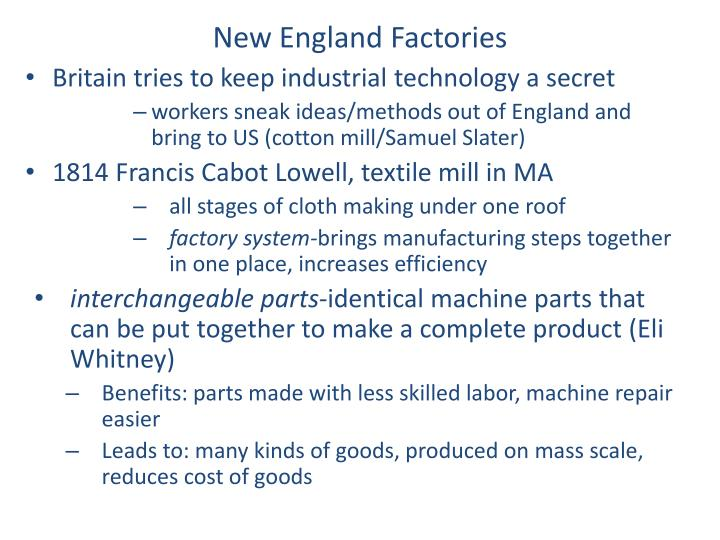 New England Factories