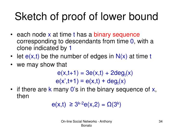 Sketch of proof of lower bound