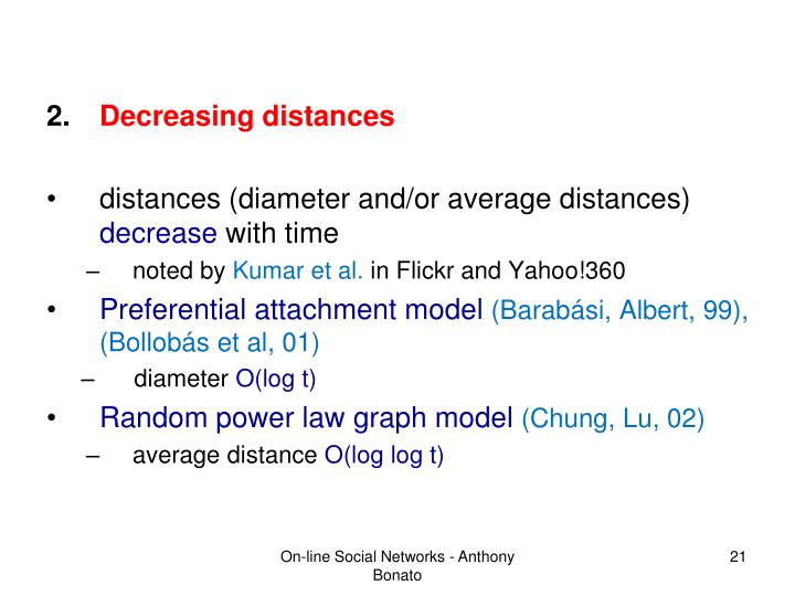 Decreasing distances