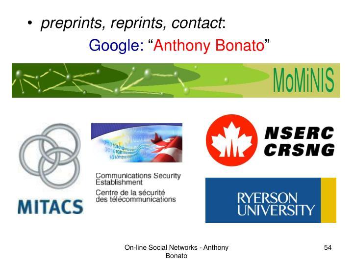 preprints, reprints, contact