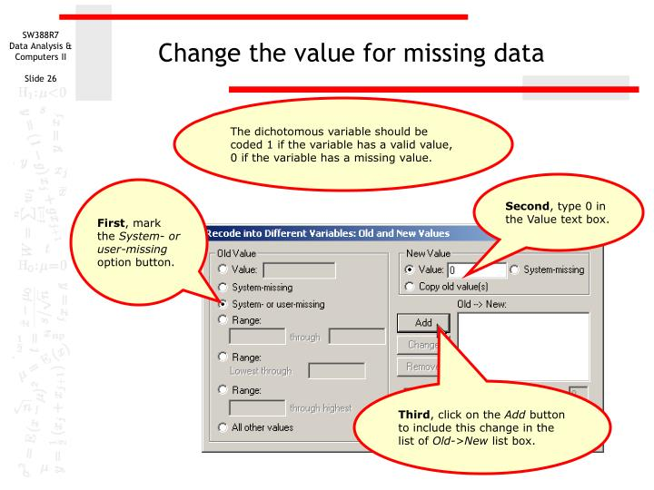 Change the value for missing data
