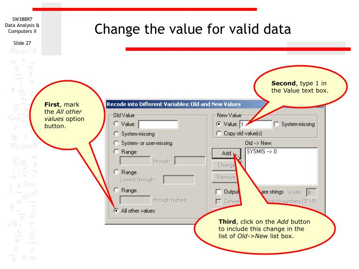 Change the value for valid data