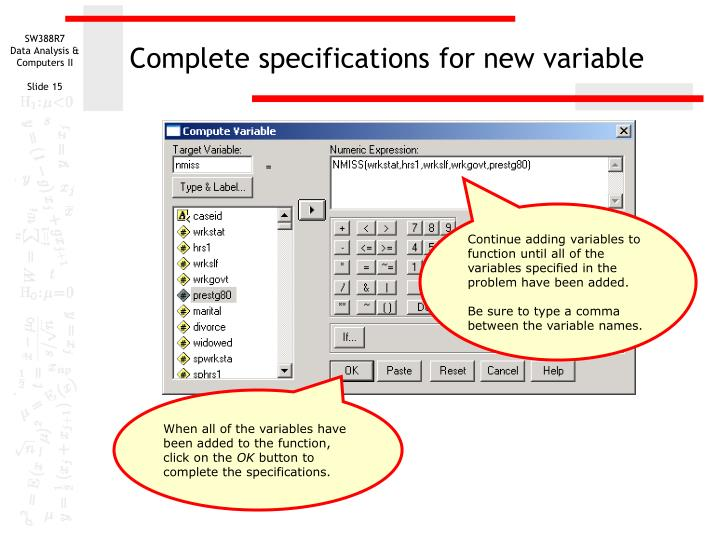 Complete specifications for new variable