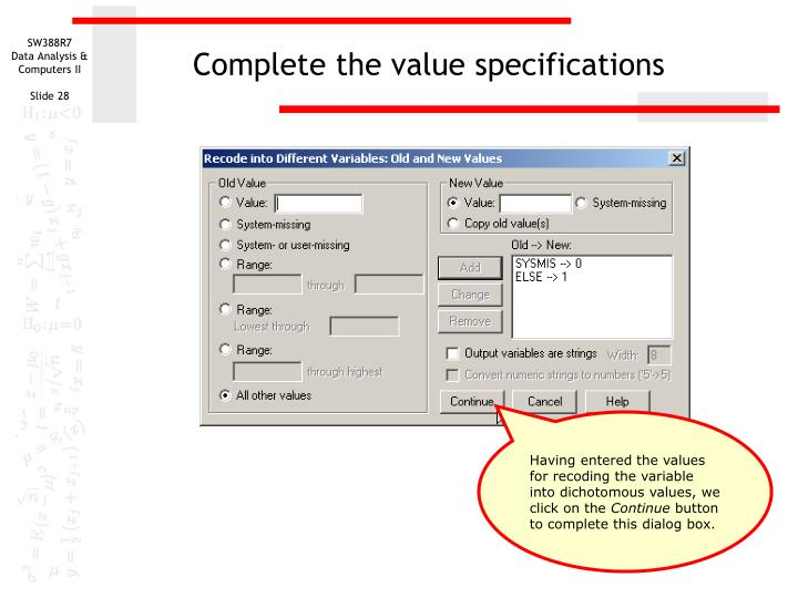 Complete the value specifications