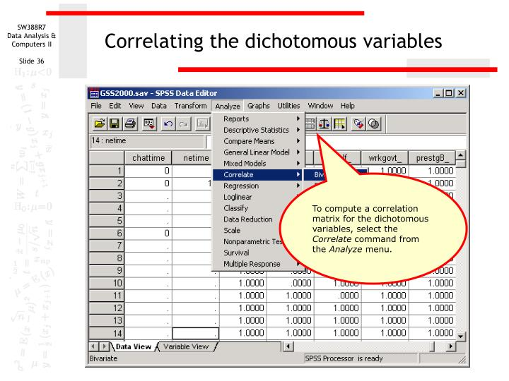 Correlating the dichotomous variables