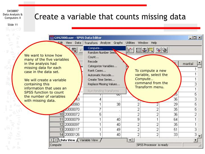 Create a variable that counts missing data