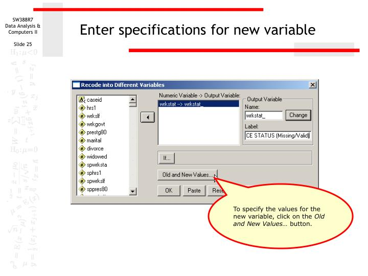 Enter specifications for new variable