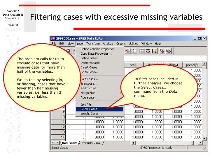 Filtering cases with excessive missing variables