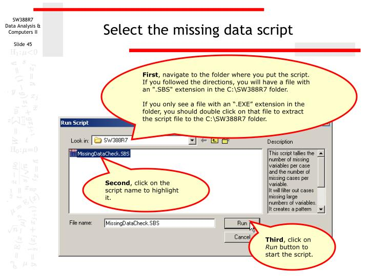 Select the missing data script