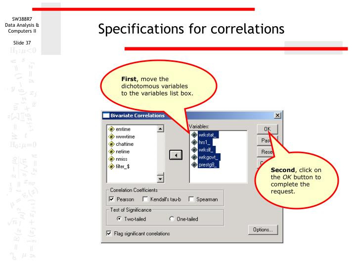 Specifications for correlations