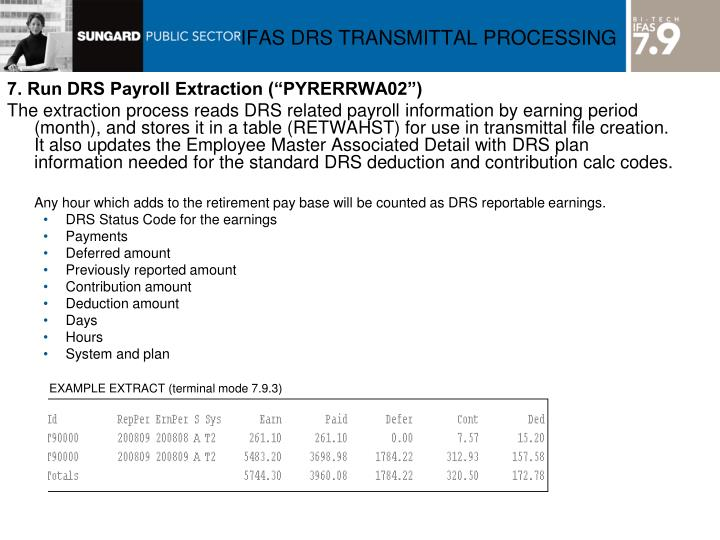 "7. Run DRS Payroll Extraction (""PYRERRWA02"")"