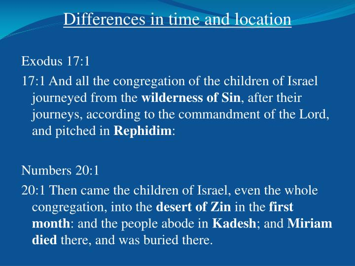 Differences in time and location