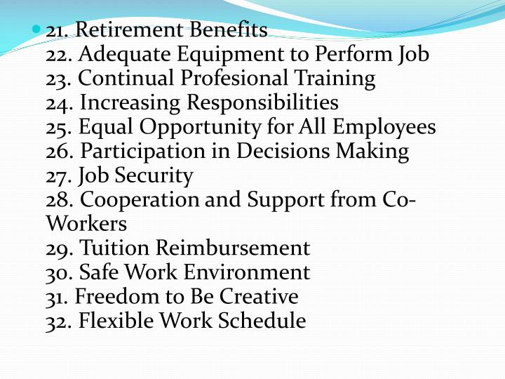21. Retirement Benefits
