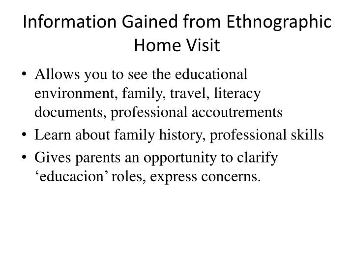 Information Gained from Ethnographic Home Visit