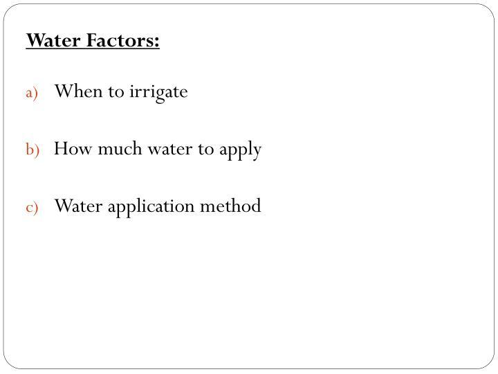 Water Factors: