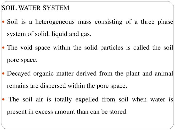 SOIL WATER SYSTEM