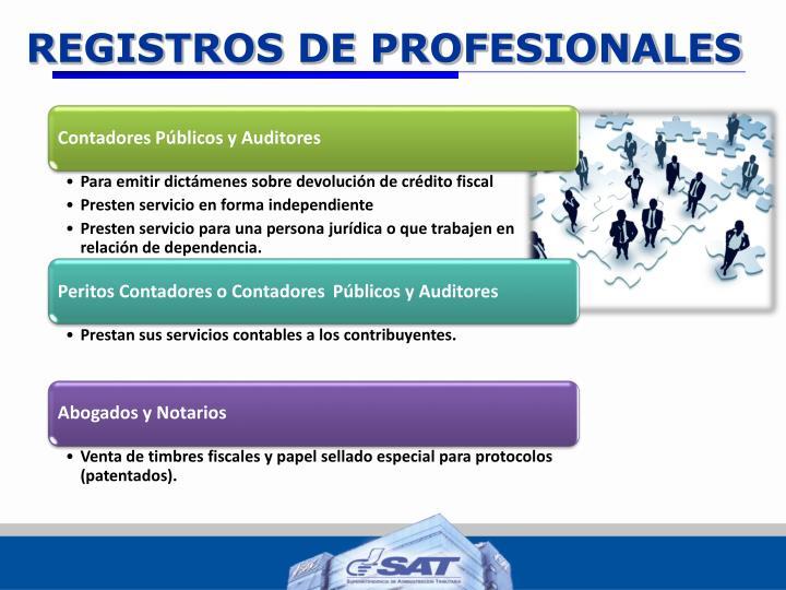 REGISTROS DE PROFESIONALES