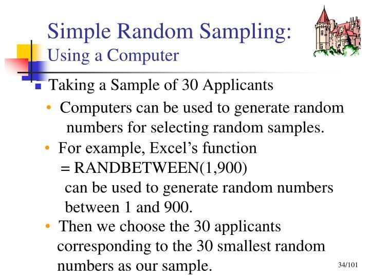 Simple Random Sampling: