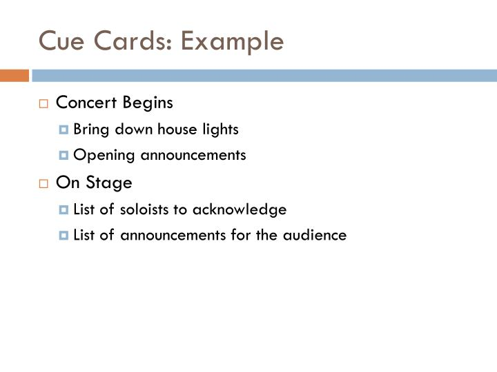 Cue Cards: Example