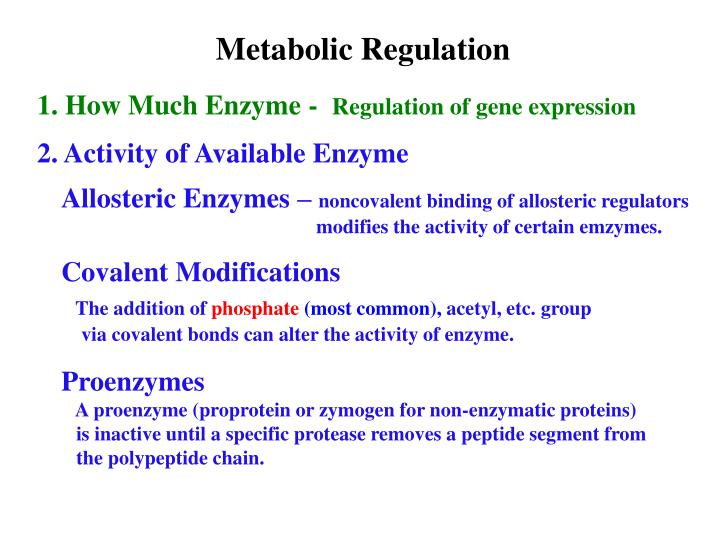 Metabolic Regulation