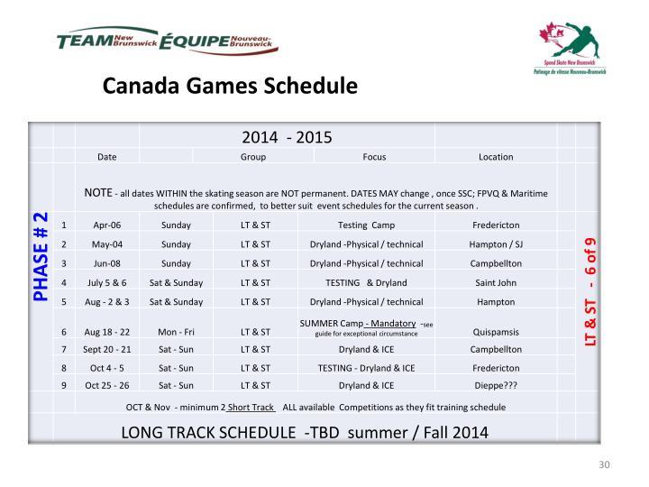 Canada Games Schedule