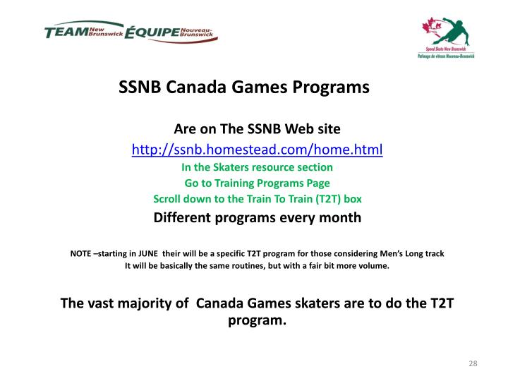 SSNB Canada Games Programs