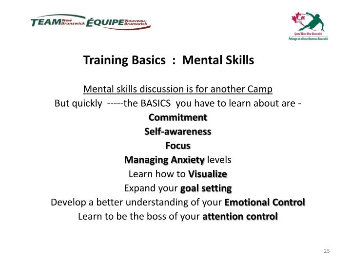 Training Basics  :  Mental Skills