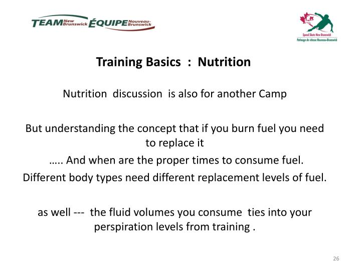 Training Basics  :  Nutrition