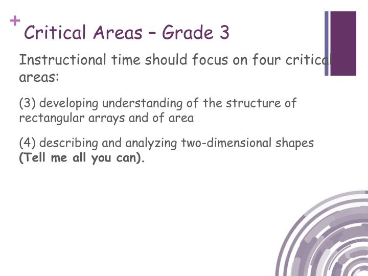 Critical Areas – Grade 3