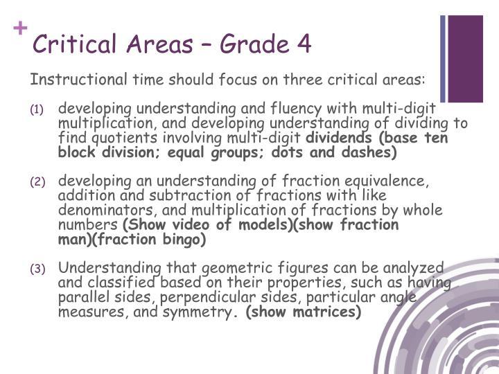 Critical Areas – Grade 4