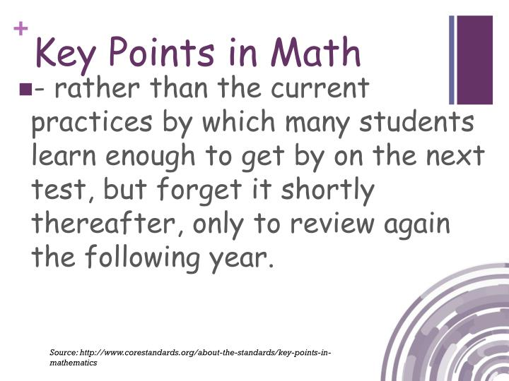 Key Points in Math