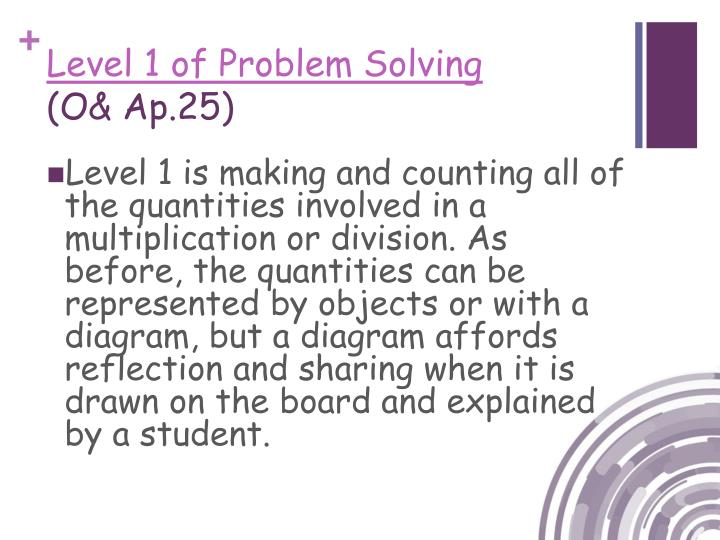 Level 1 of Problem Solving