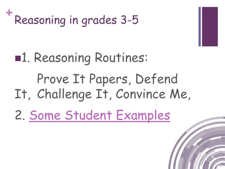 Reasoning in grades 3-5