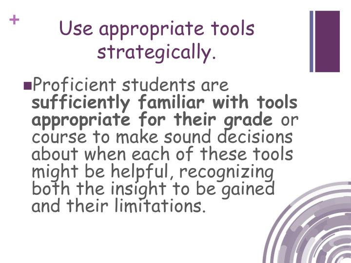 Use appropriate tools strategically.