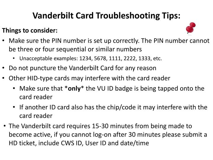 Vanderbilt Card Troubleshooting