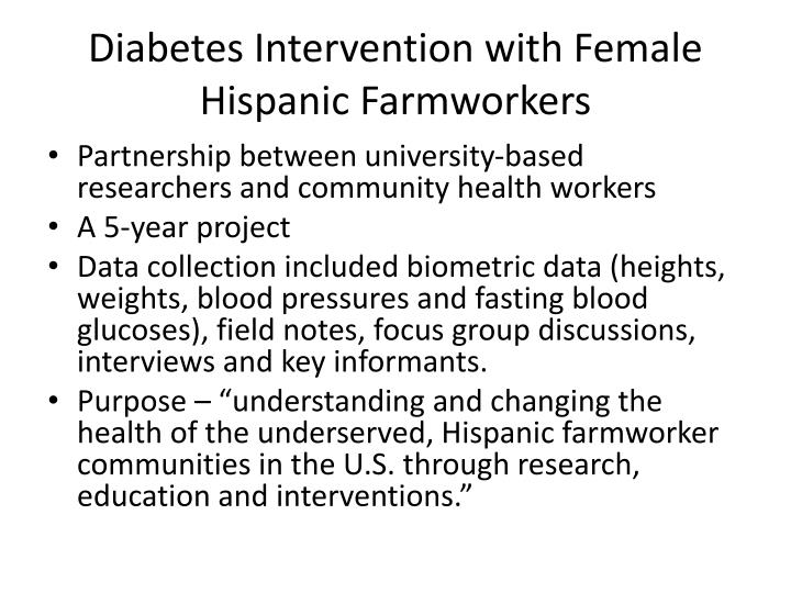 Diabetes Intervention with Female Hispanic Farmworkers