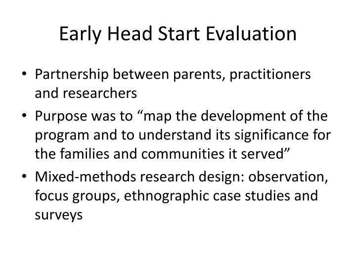 Early Head Start Evaluation