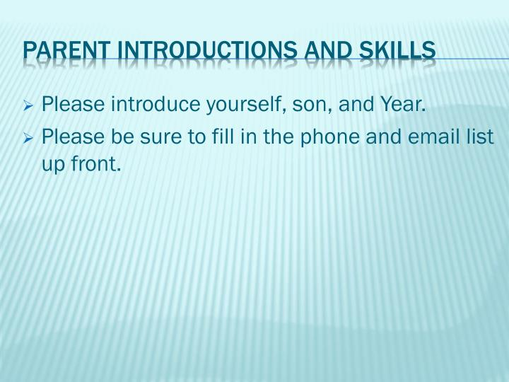 Parent introductions and skills