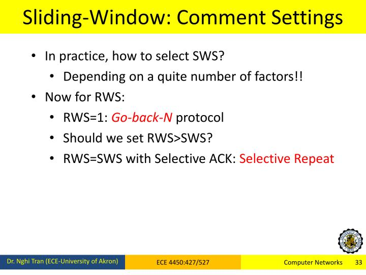 Sliding-Window: Comment Settings