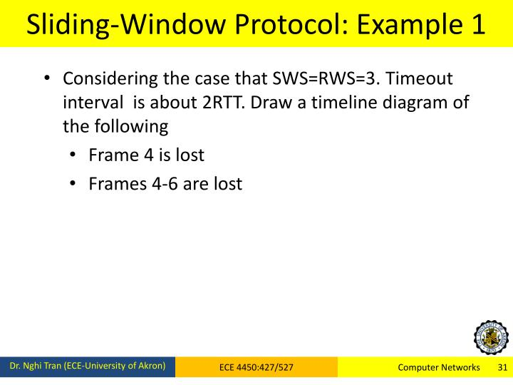 Sliding-Window Protocol: Example 1